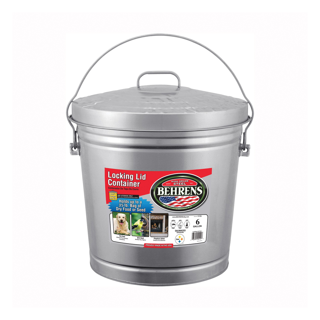 Picture of Behrens 6106 KIT Locking Lid Can, 6 gal Capacity, Galvanized Steel, Silver