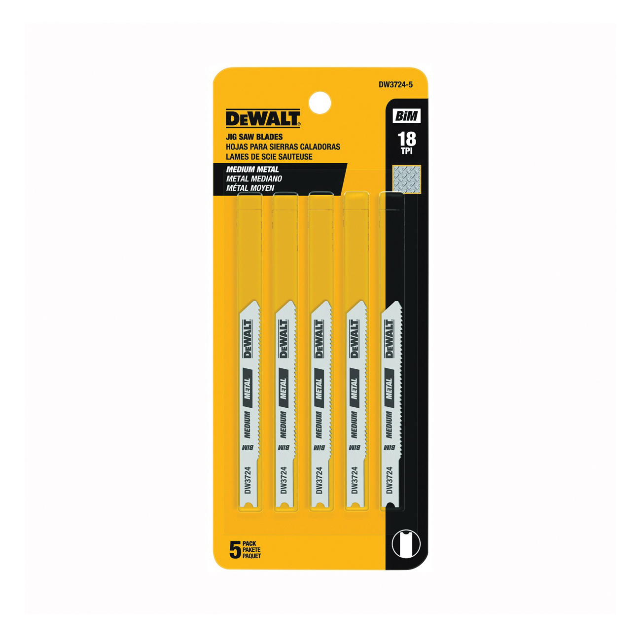 Picture of DeWALT DW3724-5 Jig Saw Blade, 0.3 in W, 18 TPI