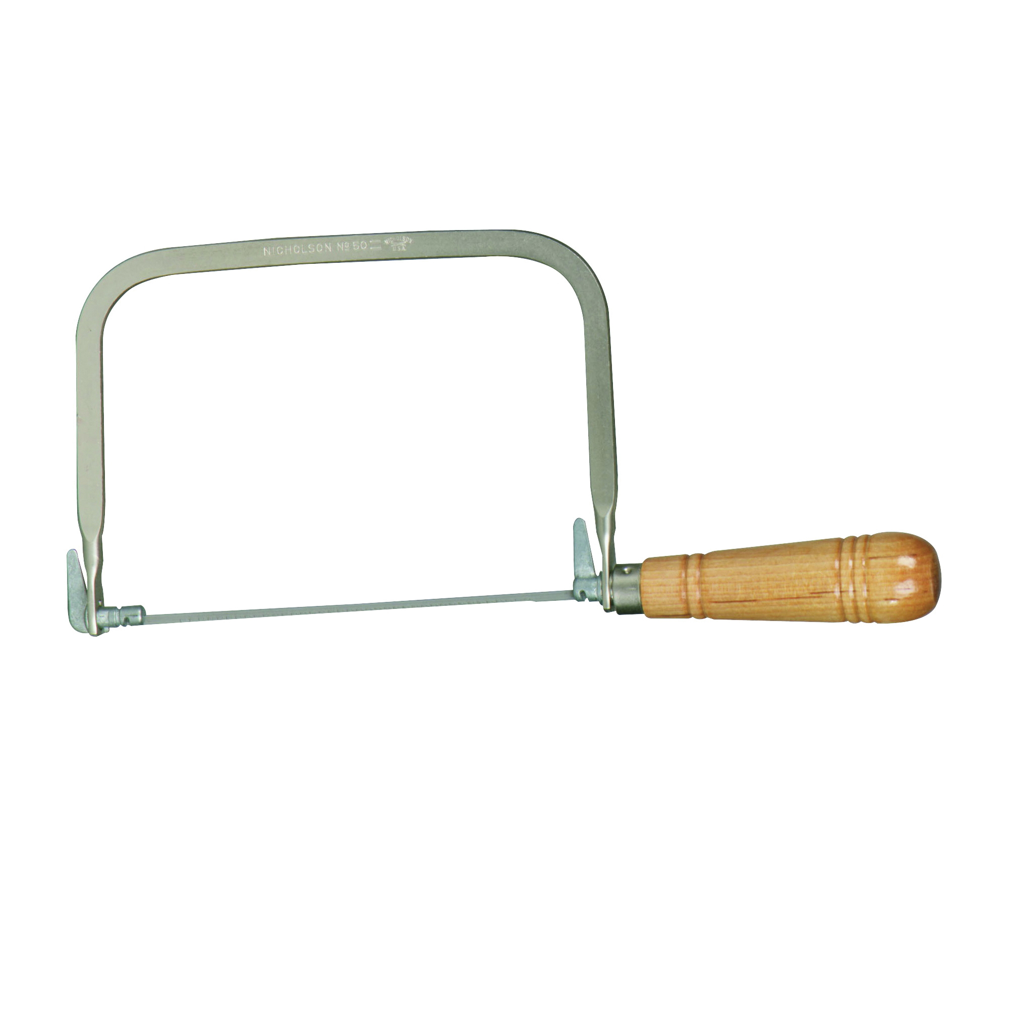 Picture of Crescent Nicholson 80170 Coping Saw, 6-1/2 in L Blade, 15 TPI, Steel Blade, Straight Handle, Wood Handle