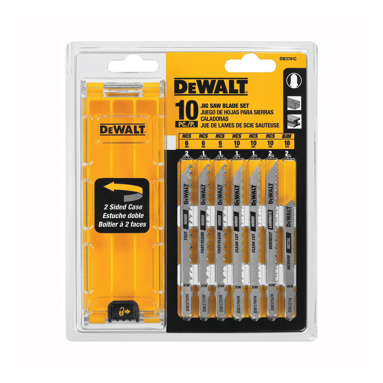 Picture of DeWALT DW3741C Jig Saw Blade Kit, 10 -Piece, HCS