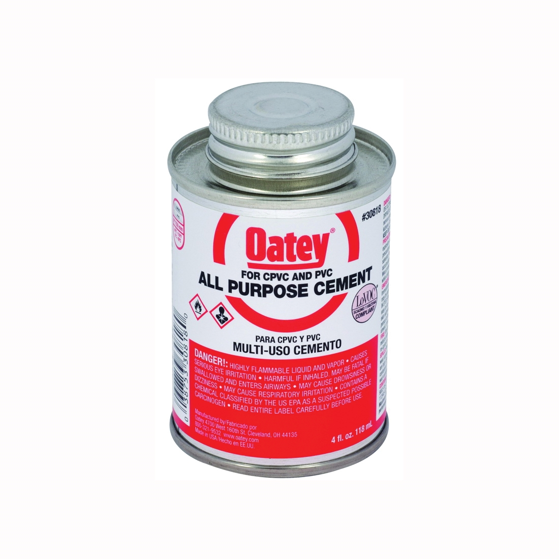 Picture of Oatey 30818 Solvent Cement, 4 oz, Can, Liquid, Milky Clear