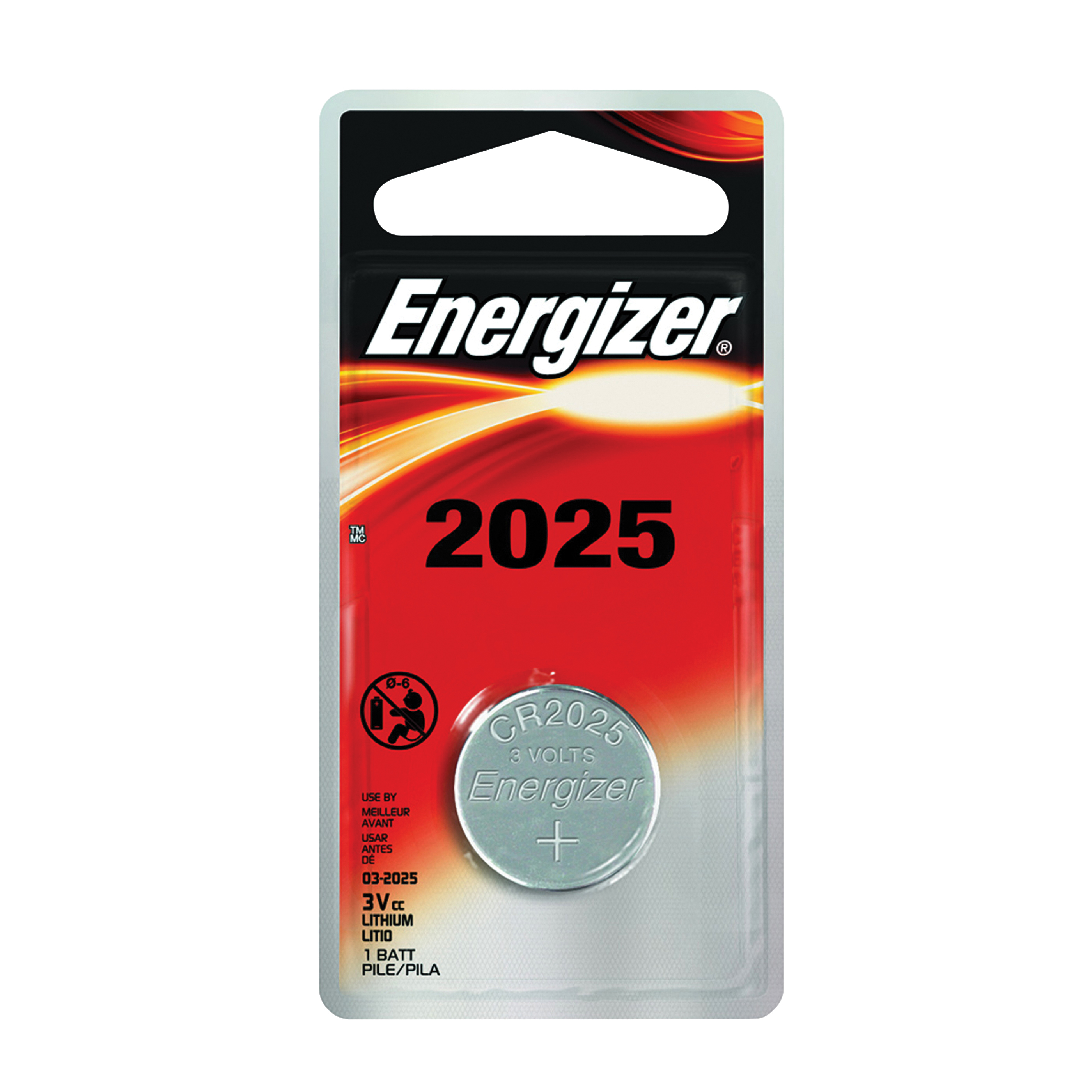 Picture of Energizer ECR2025BP Coin Cell Battery, 3 V Battery, 170 mAh, CR2025 Battery, Lithium, Manganese Dioxide