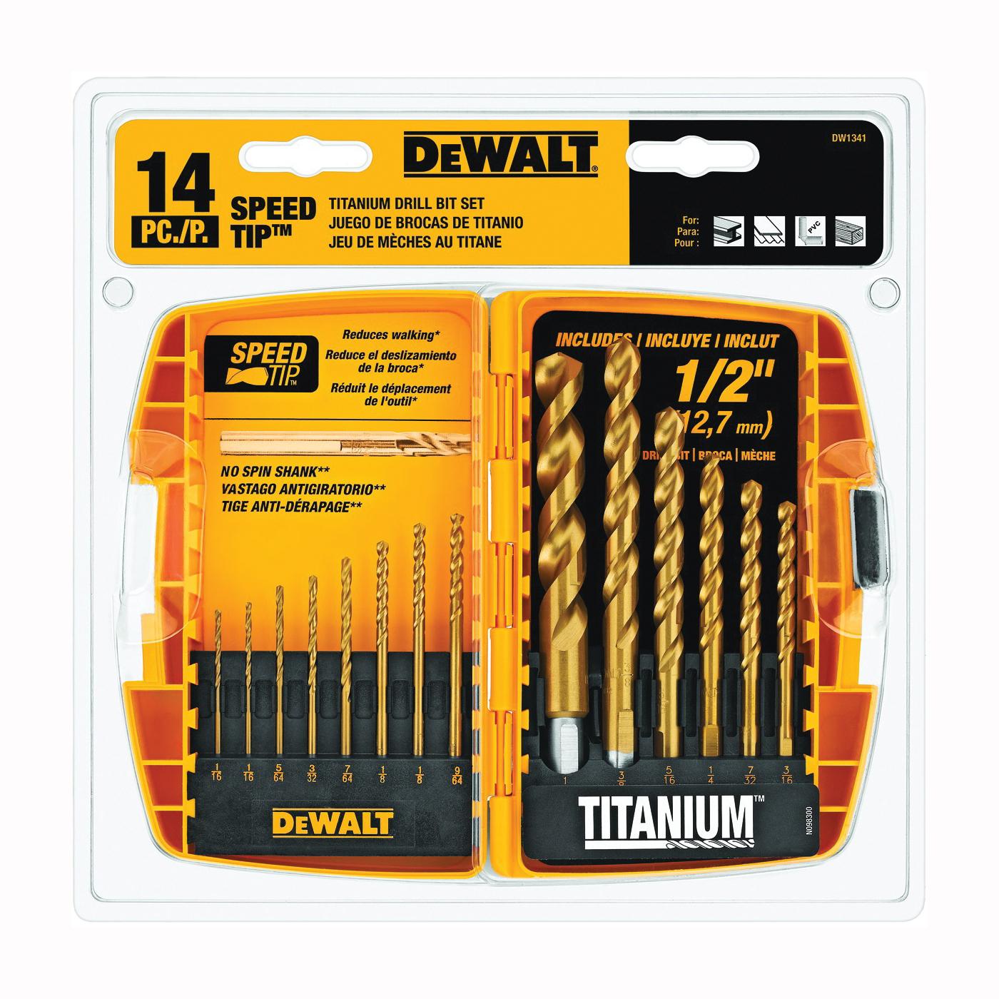 Picture of DeWALT DW1341 Drill Bit Set, Speed Tip, 14 -Piece, Steel, Titanium