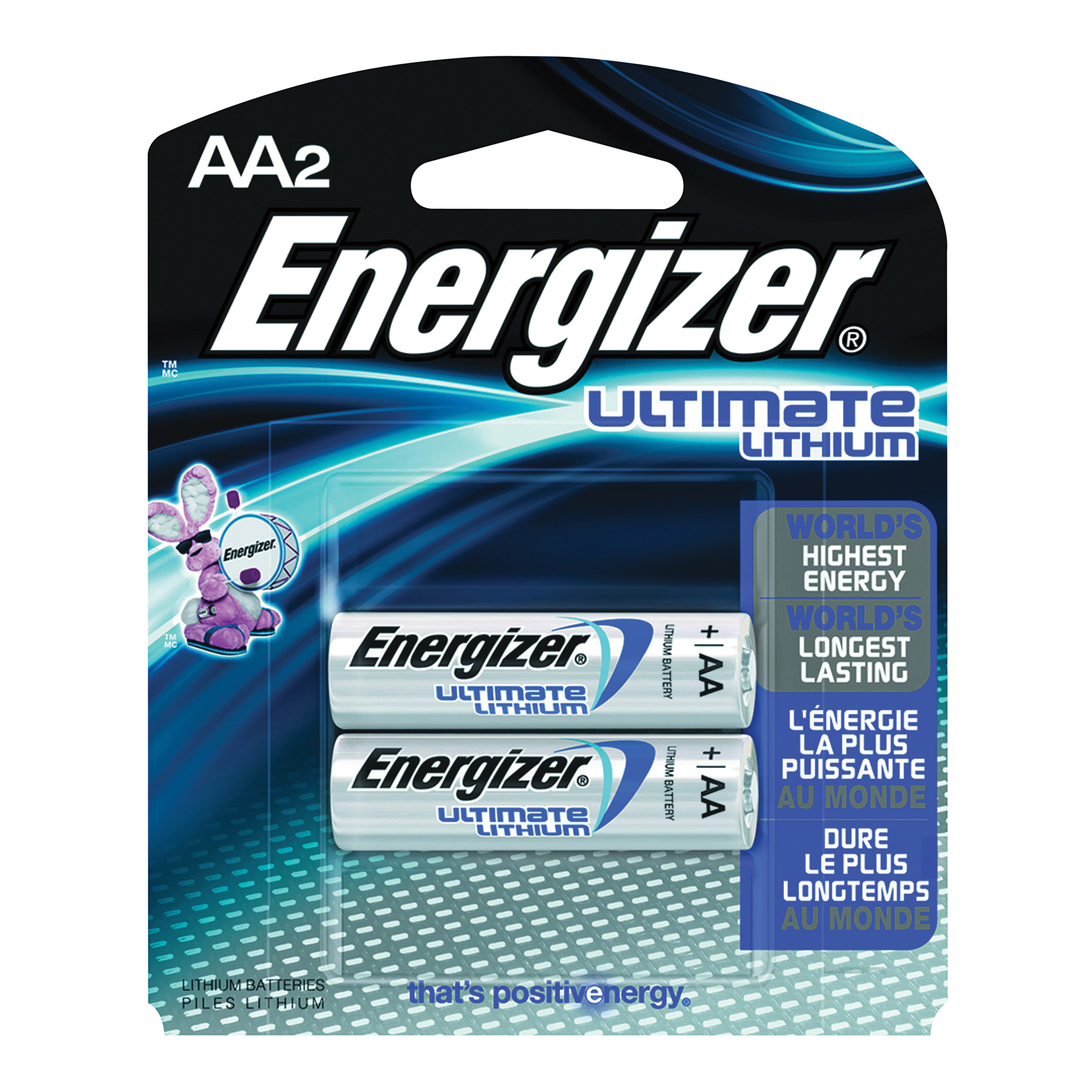 Picture of Energizer L91 Series L91BP-2 Lithium Battery, 1.5 V Battery, 3000 mAh, AA Battery, Lithium, Manganese Dioxide