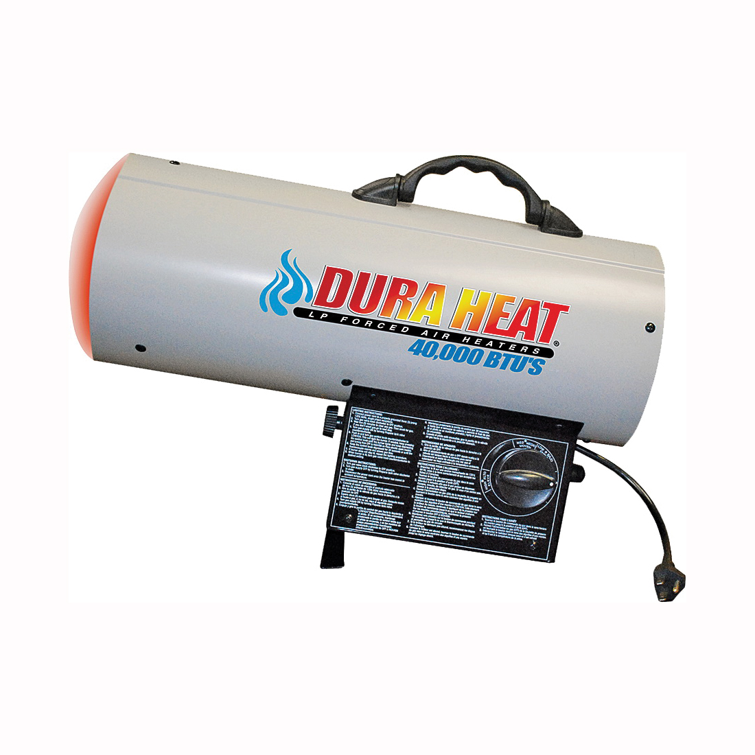 Picture of Dura Heat GFA40 Forced Air Heater, 20 lb Fuel Tank, Liquid Propane, 40000 Btu, 1000 sq-ft Heating Area, White