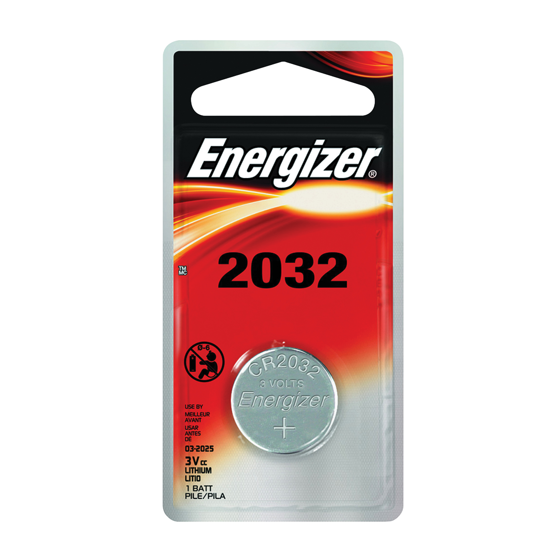 Picture of Energizer ECR2032BP Coin Cell Battery, 3 V Battery, 235 mAh, CR2032 Battery, Lithium, Manganese Dioxide