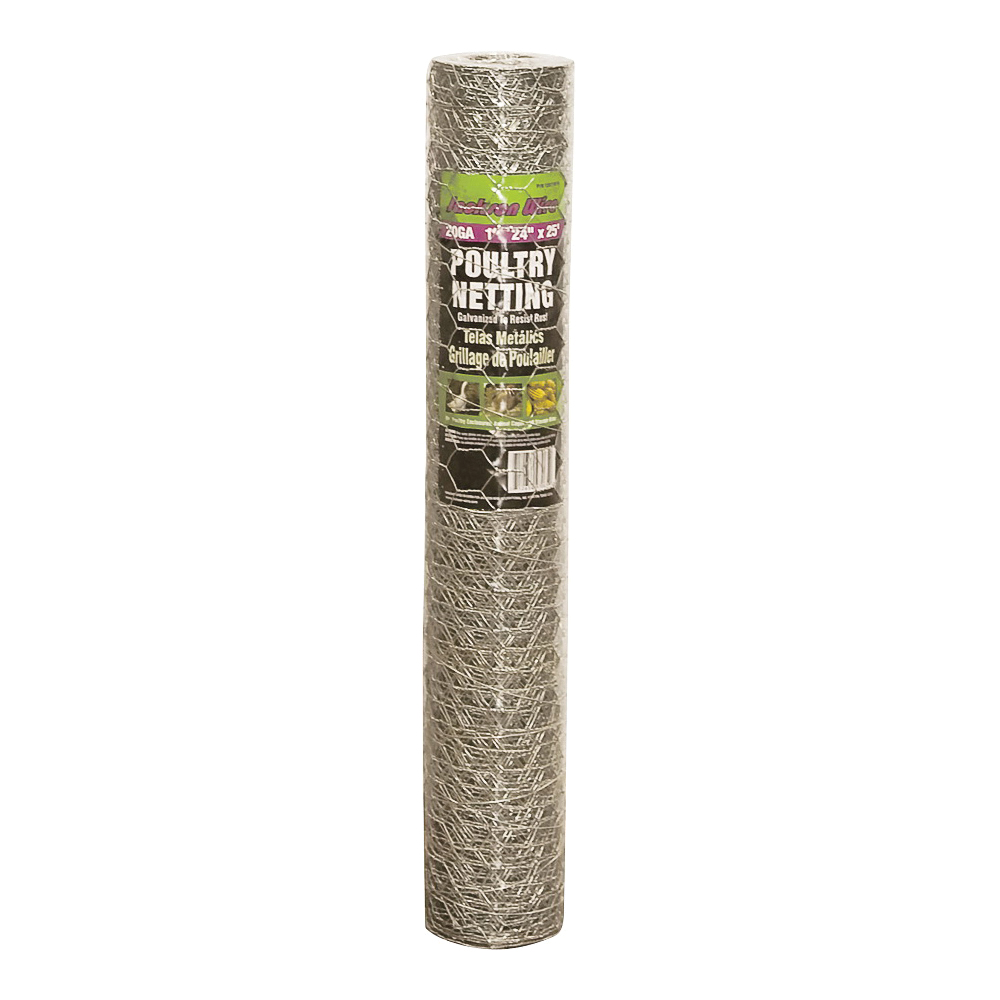 Picture of Jackson Wire 12 01 18 16 Poultry Hex Netting, 25 ft L, 24 in W, 20 Gauge, Hexagonal Mesh, 1 in Mesh, Galvanized