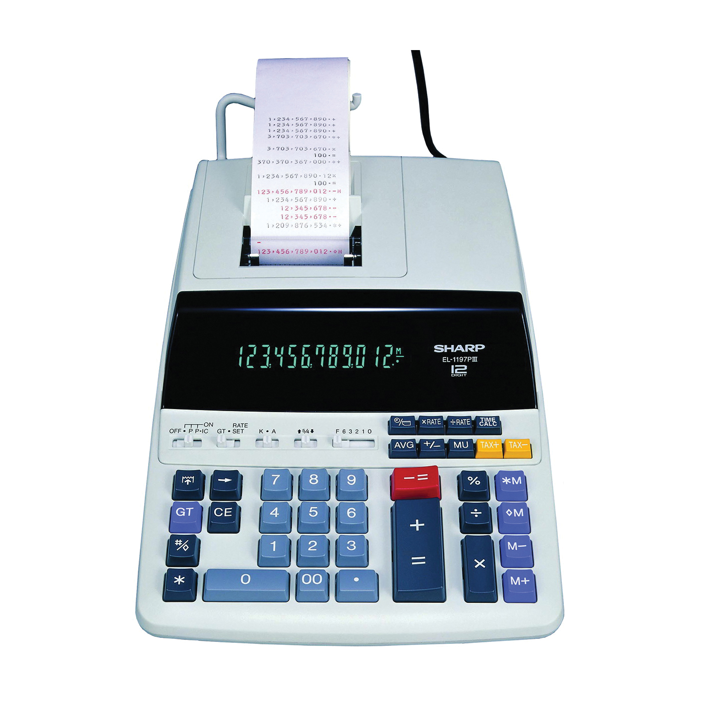 Picture of Sharp EL1197PIII Printing Calculator, 12 Display, Fluorescent Display, Off-White