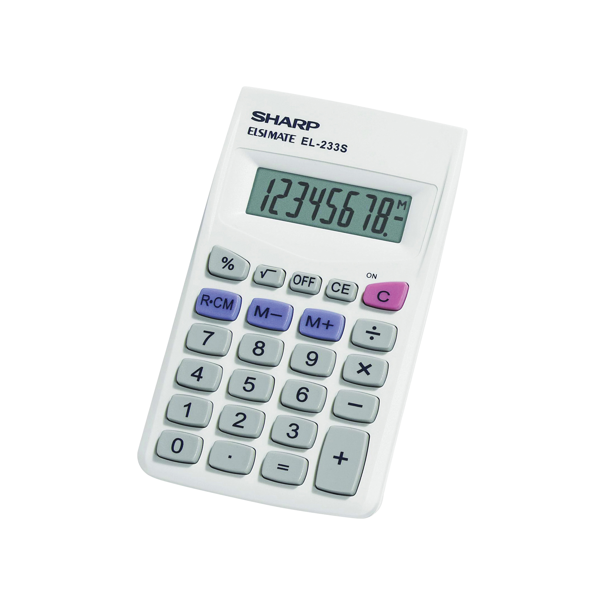Picture of Sharp EL233SB Pocket Calculator, Battery, 8 Display, LCD Display, White
