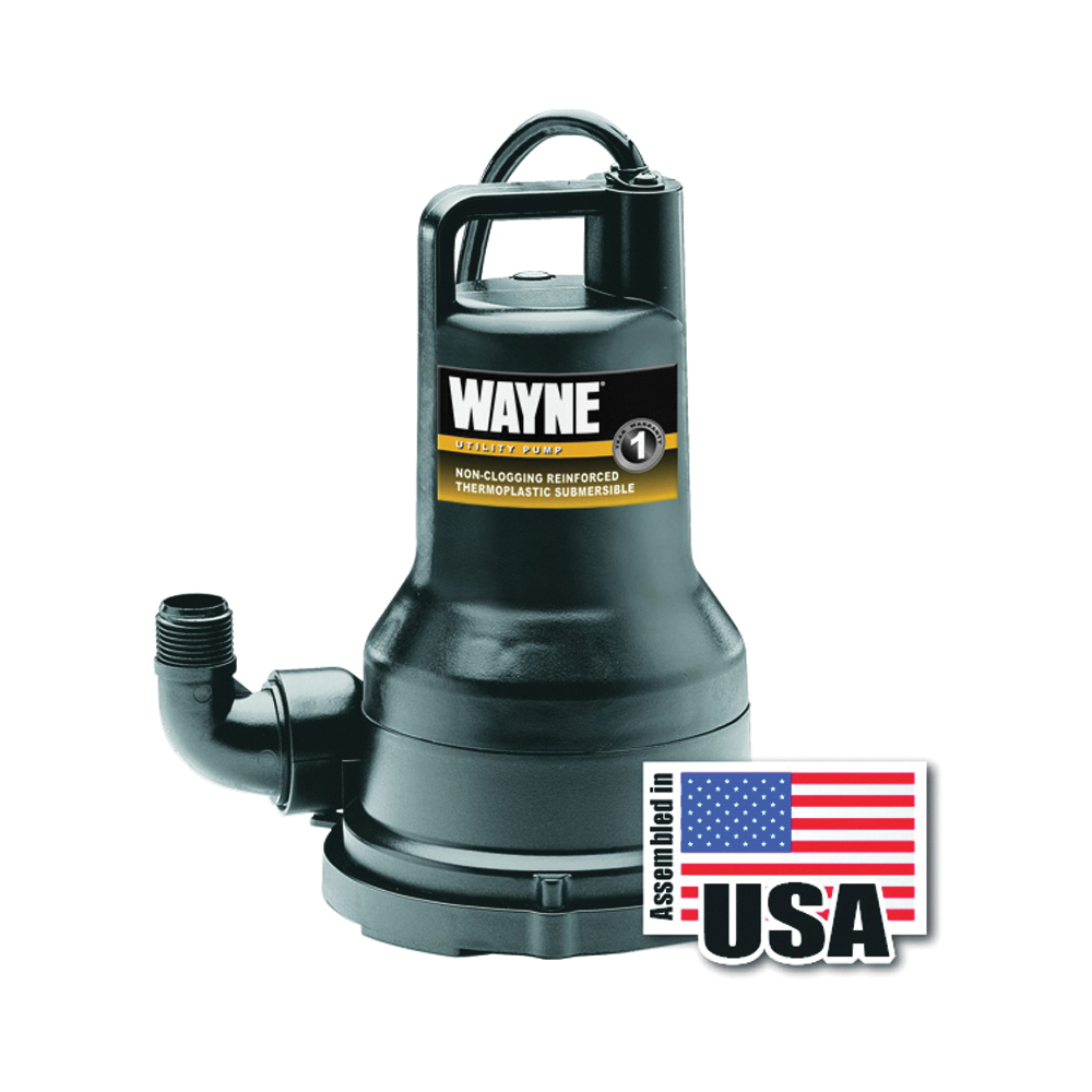 Picture of WAYNE VIP15 Utility Pump, 1-Phase, 6.2 A, 120 V, 0.2 hp, 1-1/4 in Outlet, 2050 gph, Thermoplastic Impeller