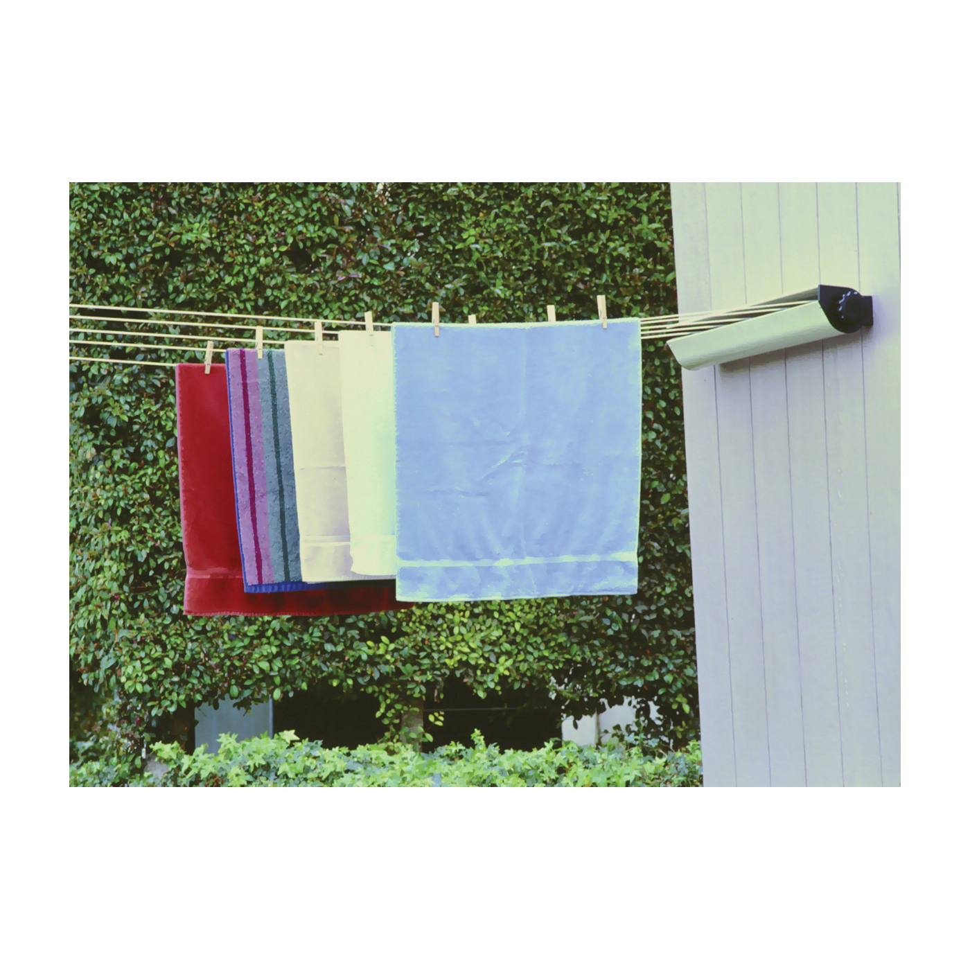 Picture of HOUSEHOLD ESSENTIALS 15-7 Retractable Clothesline, 8 in L, Aluminum, White