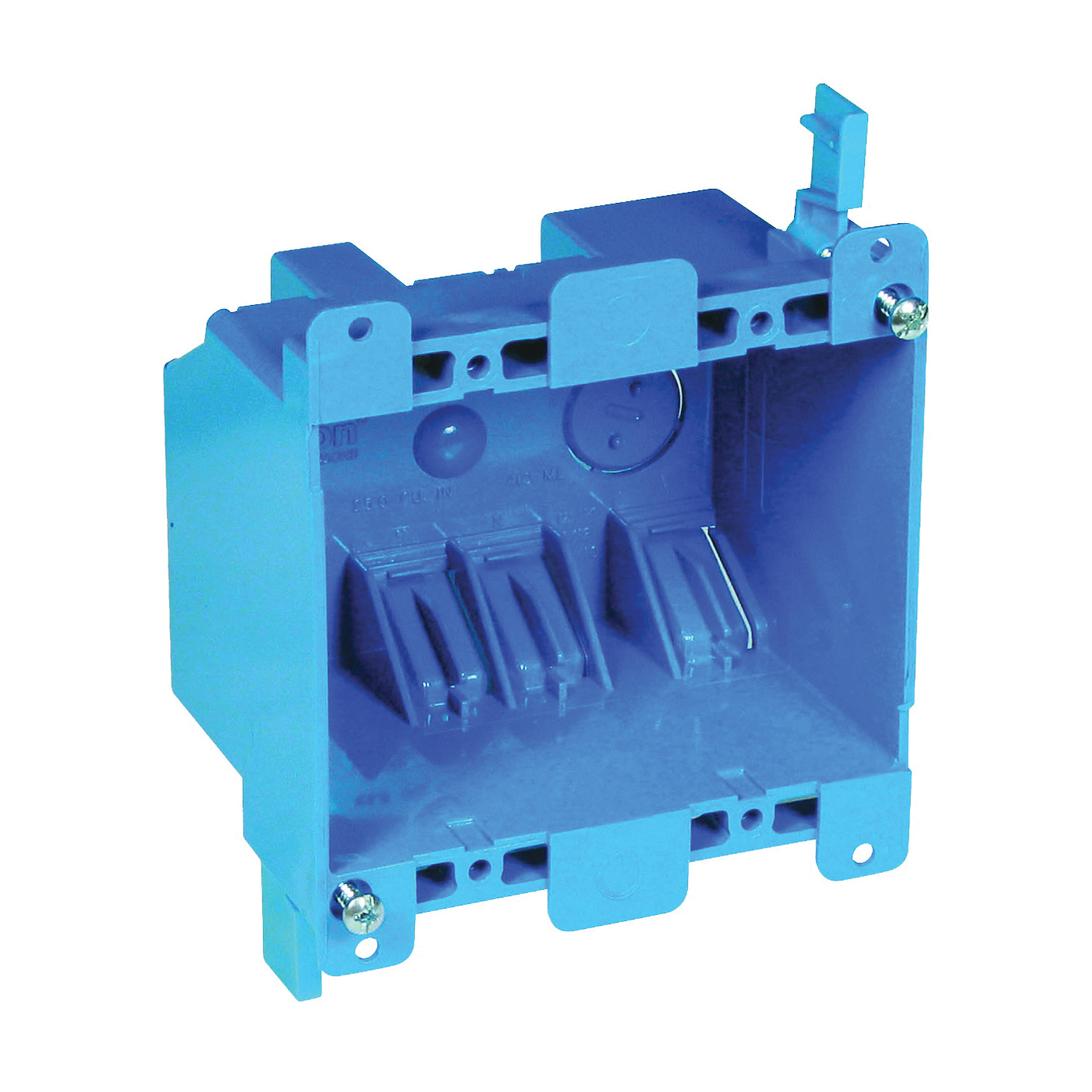 Picture of Carlon B225R-UPC Outlet Box, 2-Gang, PVC, Blue, Clamp Mounting