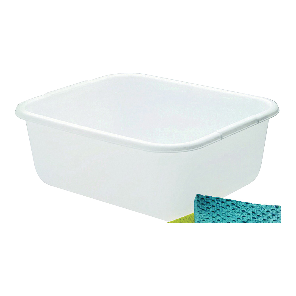 Picture of Rubbermaid 2951ARWHT Dish Pan, 11.4 qt Volume, 5.67 in L, 14.45 in W, 12.55 in H, Plastic, White