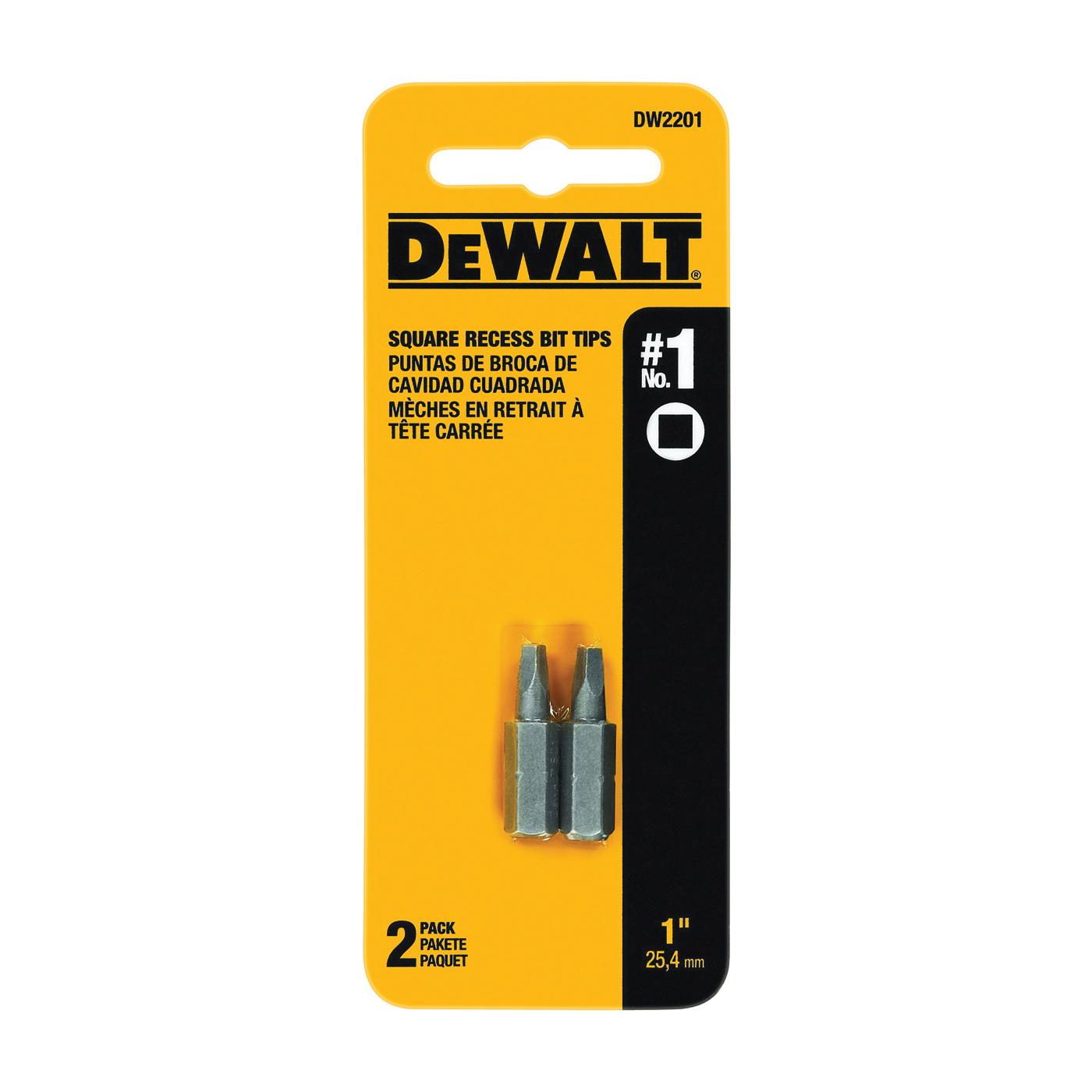 Picture of DeWALT DW2201 Screwdriver Bit, #1 Drive, Square Recess Drive, 1/4 in Shank, Hex Shank, 1 in L, Steel