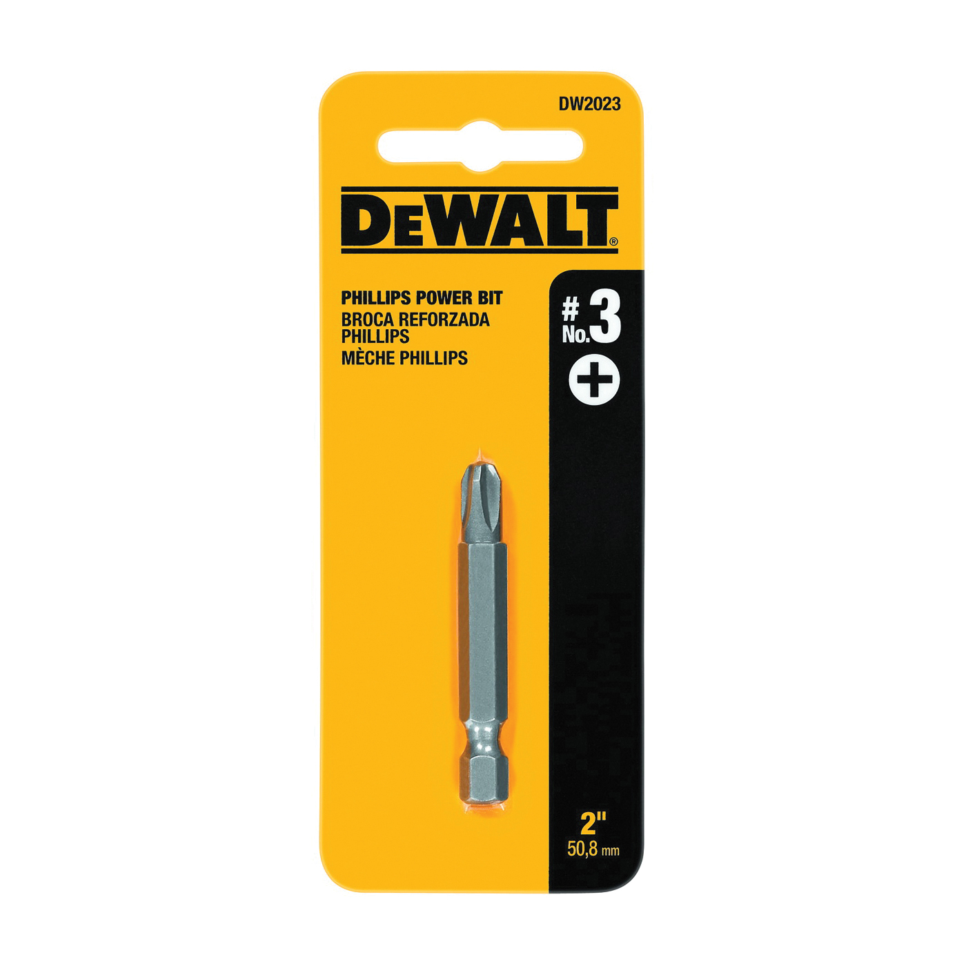 Picture of DeWALT DW2023 Power Bit, #3 Drive, Phillips Drive, 1/4 in Shank, Hex Shank, 2 in L, Steel