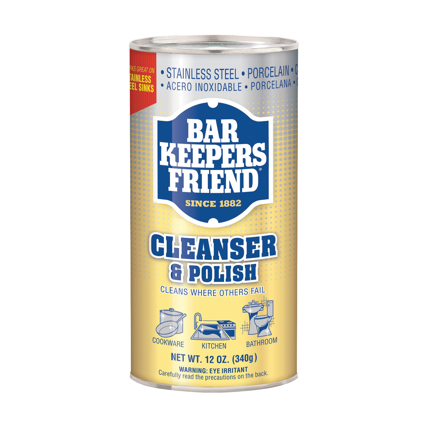 Picture of Bar Keepers Friend 11510 Cleanser and Polish, 12 oz Package, Can, Powder, White