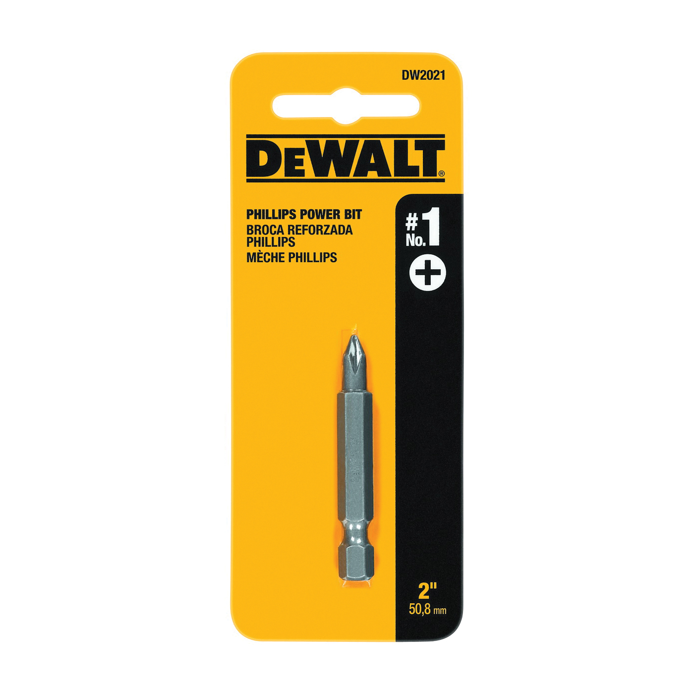 Picture of DeWALT DW2021 Power Bit, #1 Drive, Phillips Drive, 1/4 in Shank, Hex Shank, 2 in L, Tool Steel