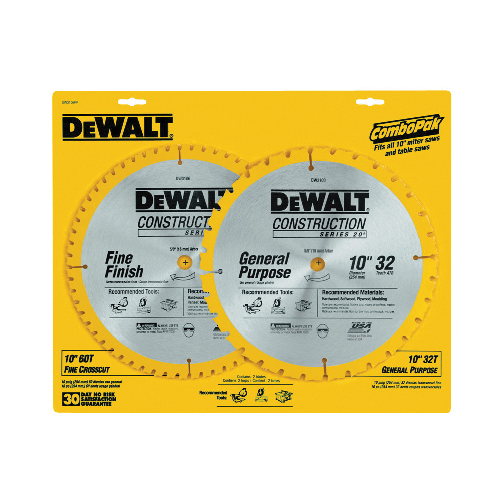Picture of DeWALT DW3106P5 Saw Blade, 10 in Dia, 5/8 in Arbor, 32 -Teeth, Carbide Cutting Edge