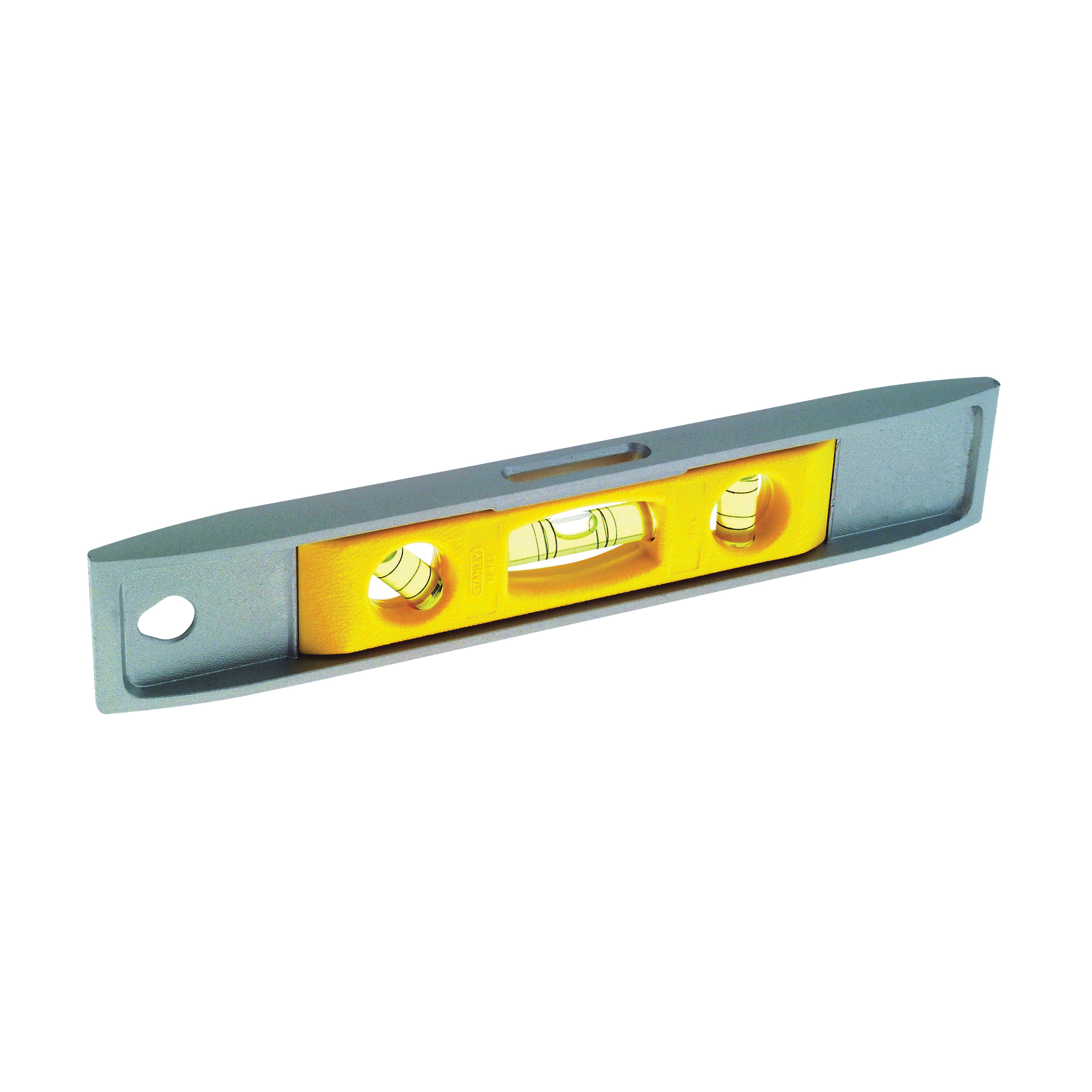 Picture of STANLEY 42-465 Torpedo Level, 9 in L, 3 -Vial, 1 -Hang Hole, Magnetic, Aluminum, Silver/Yellow