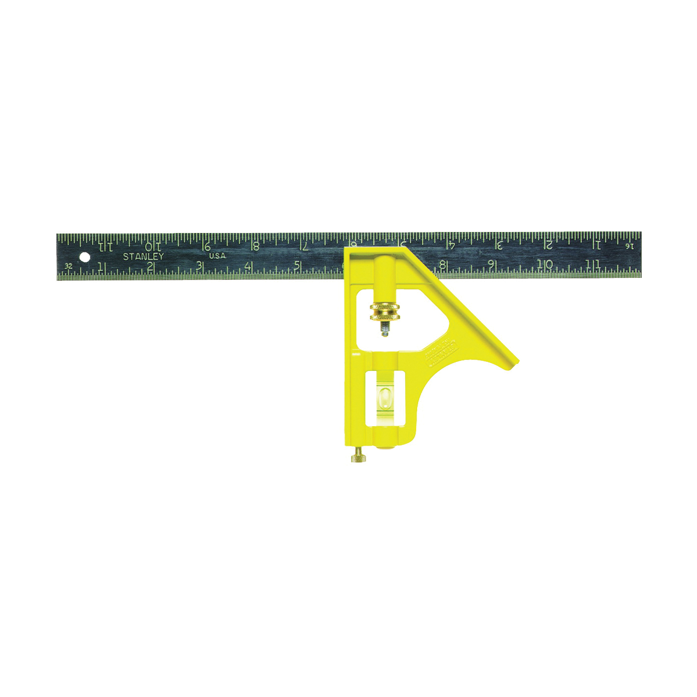 Picture of STANLEY 46-123 Combination Square, 12 in L Blade, SAE Graduation, Steel Blade