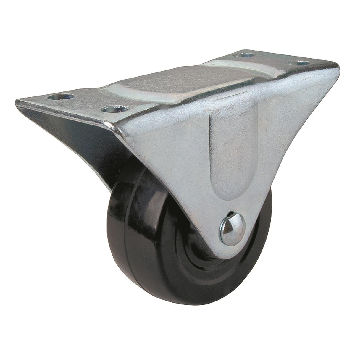 Picture of ProSource JC-H03 Rigid Caster, 3 in Dia Wheel, 1-1/4 in W Wheel, Rubber Wheel, Black, 210 lb