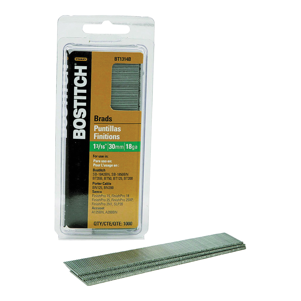 Picture of Bostitch BT1314B Brad Nail, 1-3/16 in L, 18 Gauge, Steel, Coated, Smooth Shank, 3000/BX
