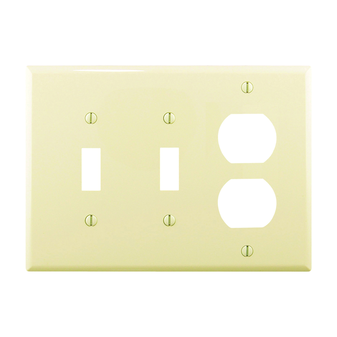 Picture of Eaton Wiring Devices PJ28A Wallplate, 4-7/8 in L, 6-3/4 in W, 3-Gang, Polycarbonate, Almond, High-Gloss