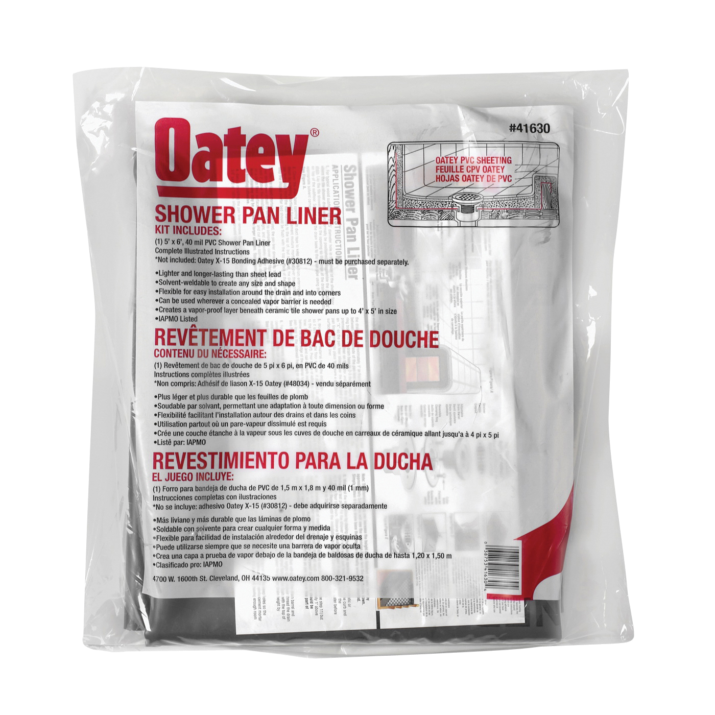 Picture of Oatey 41630 Shower Pan Line with Dam Corners, 6 ft L, 5 ft W, PVC, Gray
