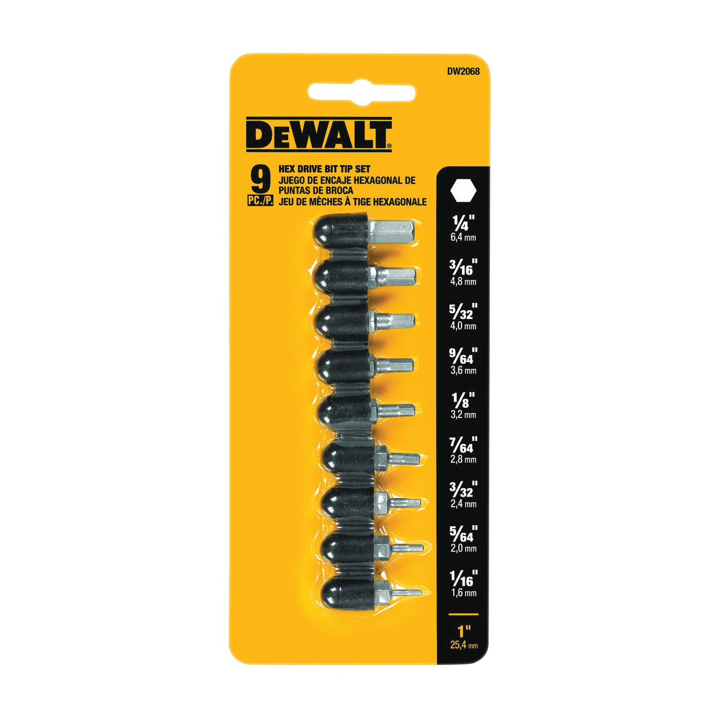 Picture of DeWALT DW2068 Hex Bit Set, 9 -Piece, Steel