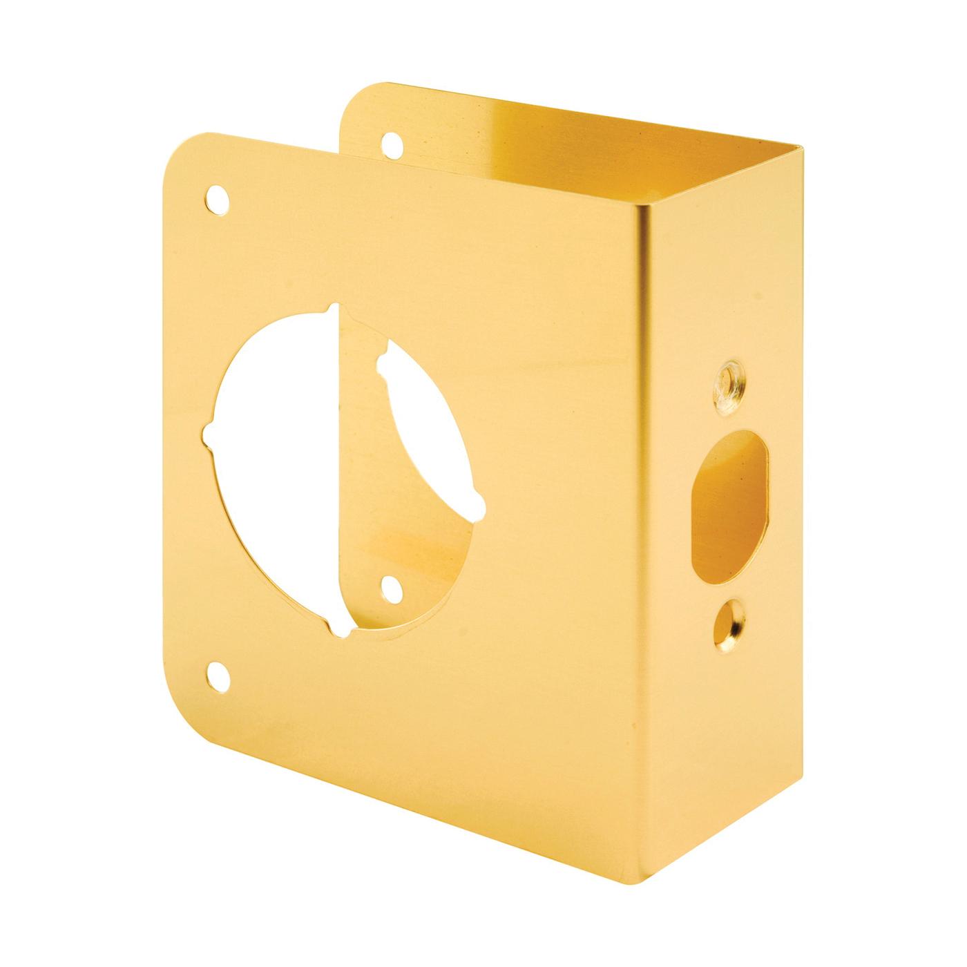 Picture of Prime-Line U 9556 Lock and Door Reinforcer, 2-3/8 in Backset, 1-3/4 in Thick Door, Brass, Brass, 4-1/2 in H