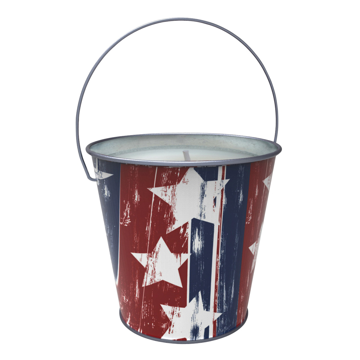 Picture of Seasonal Trends Y2563 Candle with Handle Bucket, Bucket, Printed Stars and Stripes, Citronella, Carton
