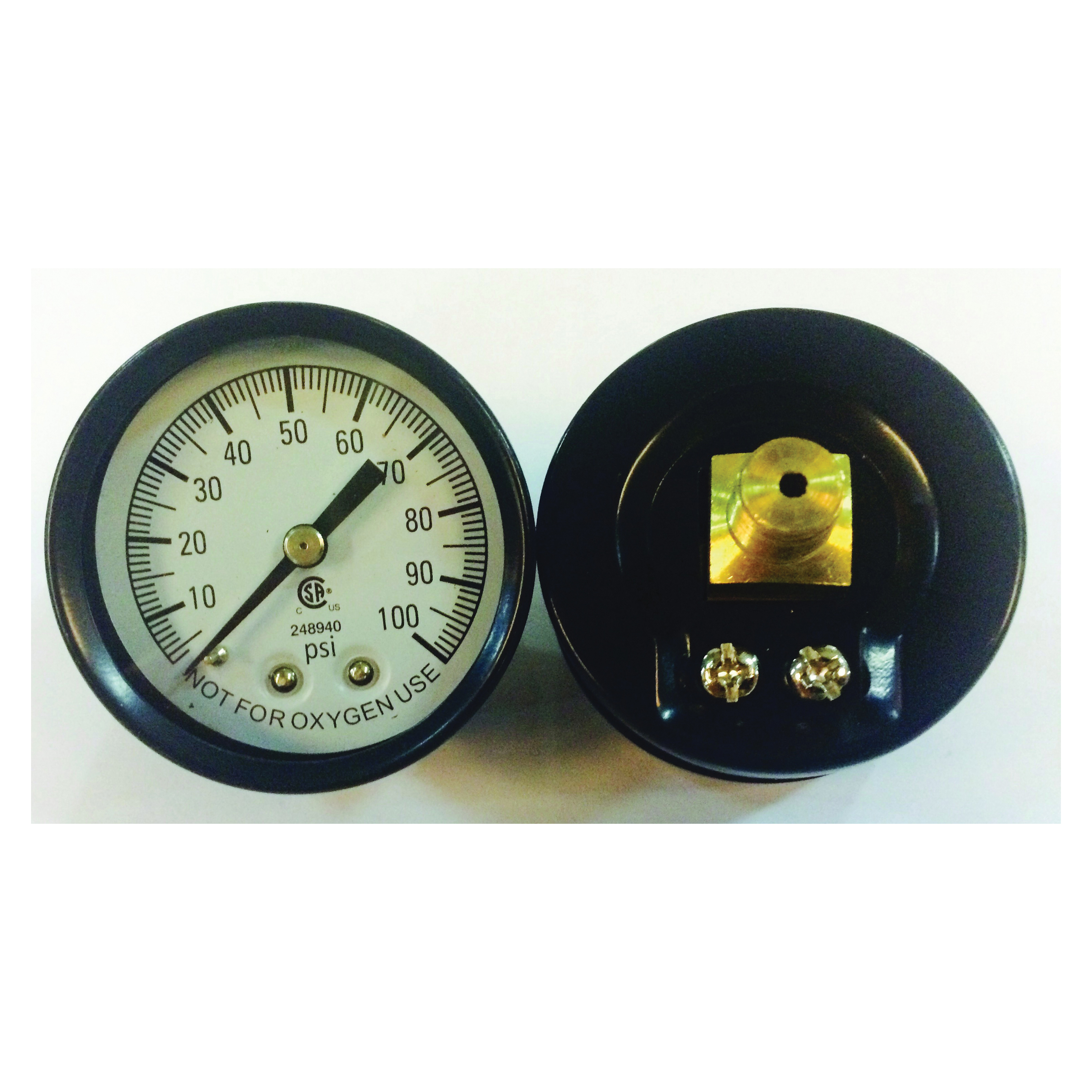 Picture of Simmons 1307 Pressure Gauge, 1/8 in Connection, MPT, 2 in Dial, Steel Gauge Case, 0 to 100 lb