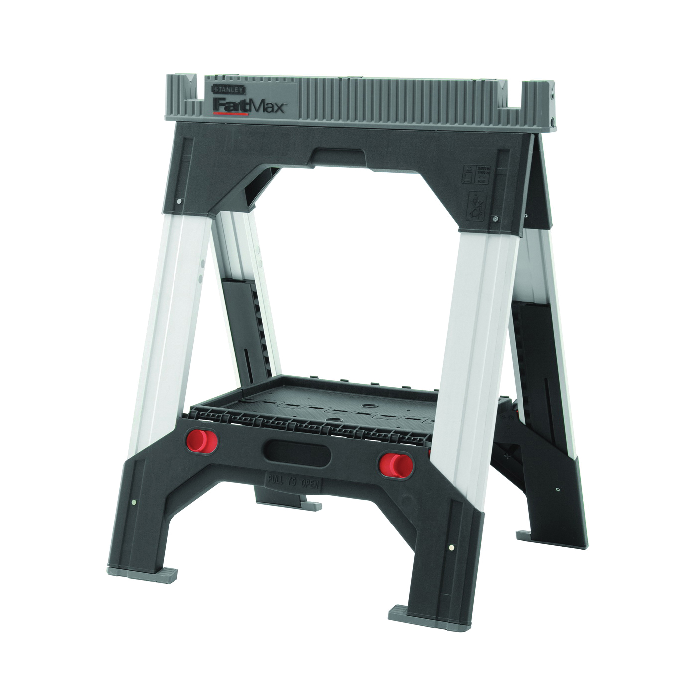 Picture of STANLEY FATMAX 011031S Adjustable Leg Sawhorse, 2500 lb, 2-1/8 in W, 32 to 39 in H, 27-3/16 in D, Polypropylene