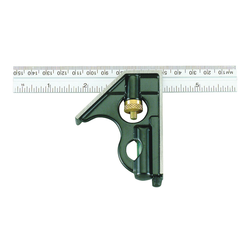 Picture of Johnson 406EM Combination Square, 6 in L Blade, SAE/Metric Graduation, Stainless Steel Blade