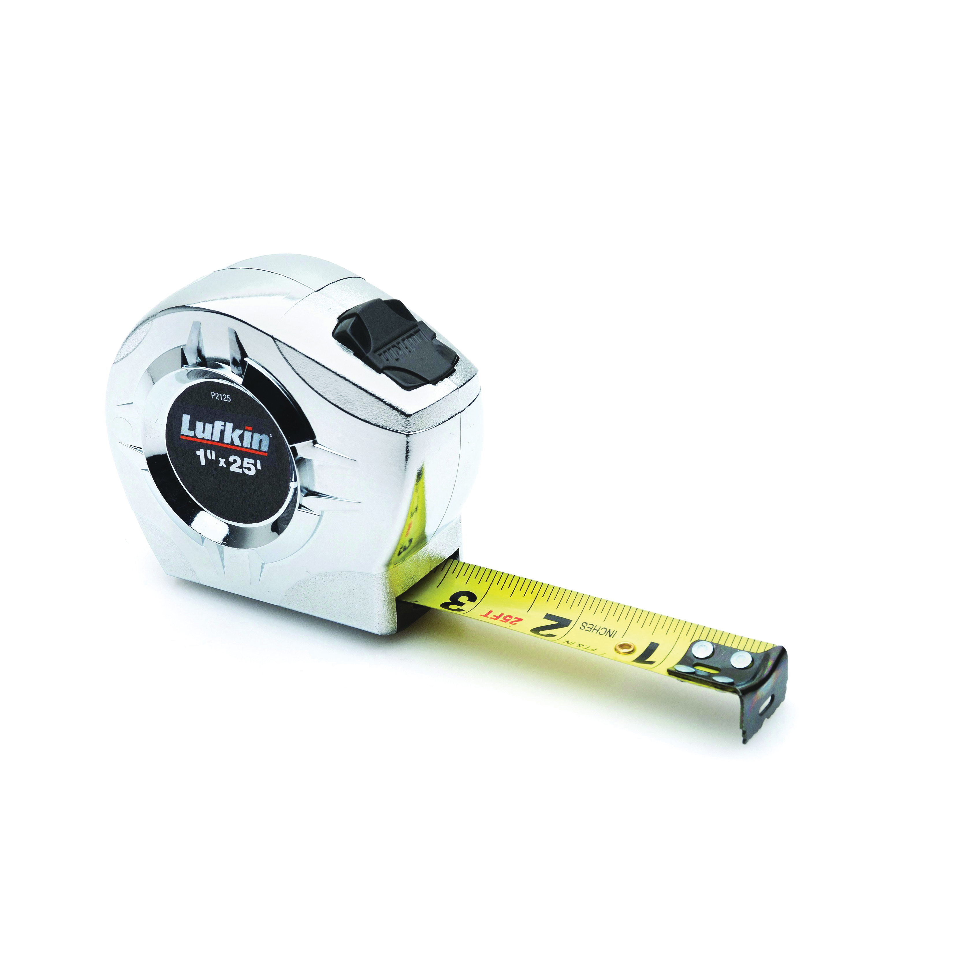 Picture of Crescent Lufkin P2125N Tape Measure, 25 ft L Blade, 1 in W Blade, Steel Blade, Chrome Case