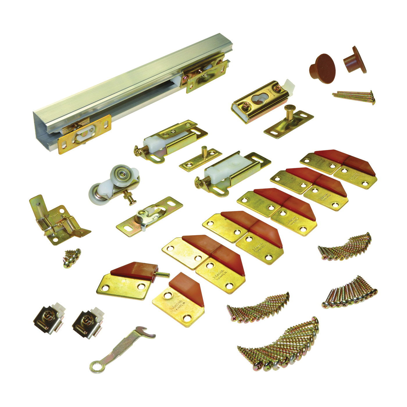 Picture of Johnson Hardware 100FD484 Panel Hardware Set, 1-1/8 to 1-3/4 in Thick Door, Top Mounting, For: 75 lb Bi-Fold Door