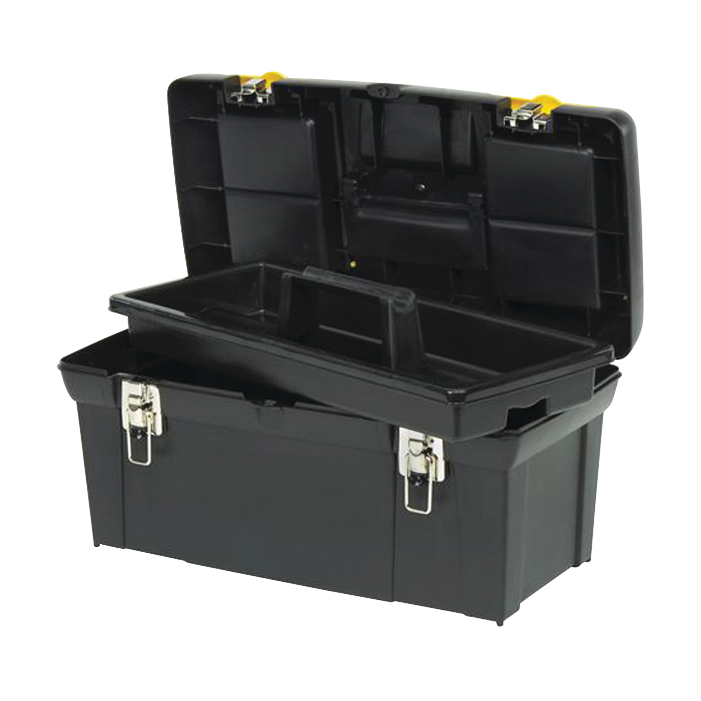 Picture of STANLEY 024013S Tool Box with Tray, 8.1 gal, Plastic, Black/Yellow, 5 -Compartment