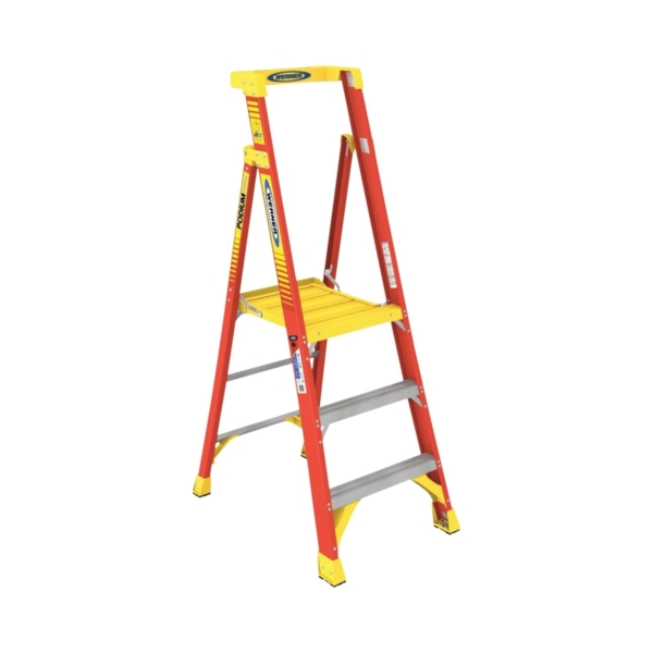 Picture of WERNER PD6203 Podium Ladder, 3 ft Max Standing H, 300 lb, Type IA Duty Rating, 3-Rung, 3 in D Step, Fiberglass