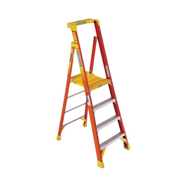 Picture of WERNER PD6204 Podium Ladder, 4 ft Max Standing H, 300 lb, Type IA Duty Rating, 4-Rung, 3 in D Step, Fiberglass