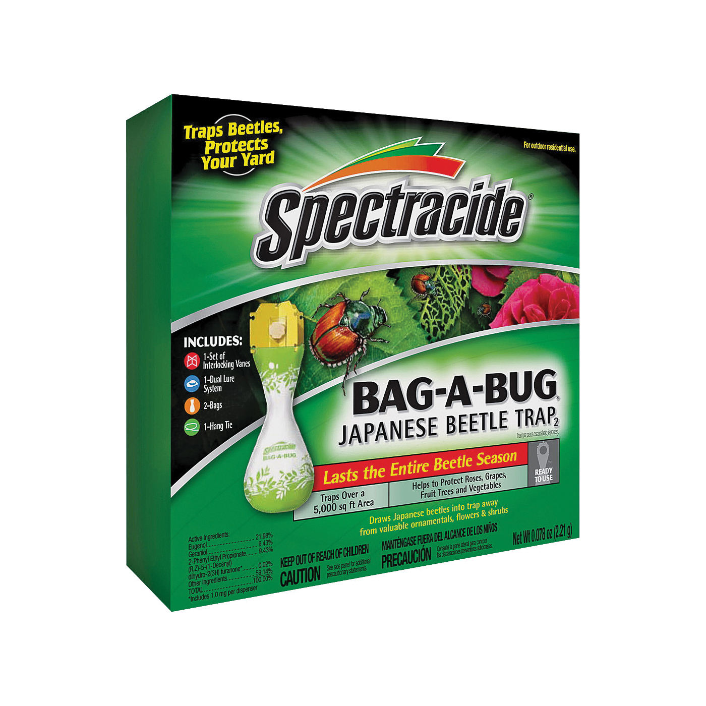 Picture of Spectracide 56901 Japanese Beetle Trap, Solid, Floral, Yellow