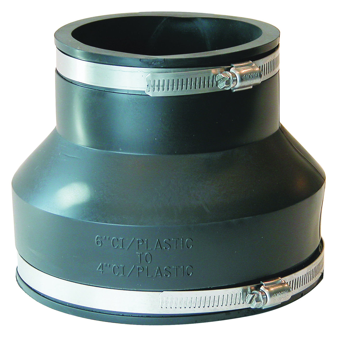 Picture of FERNCO P1056-64 Flexible Pipe Coupling, 6 x 4 in, PVC, Black, 4.3 psi Pressure