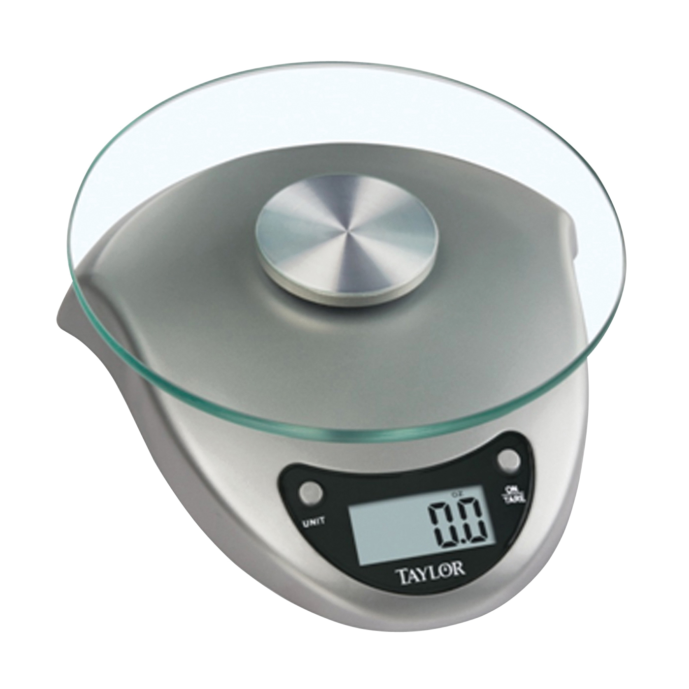 Picture of Taylor 3831S Kitchen Scale, 6.6 lb Capacity, LCD Display, Tempered Glass Platform, Silver, g, kg, lb, oz