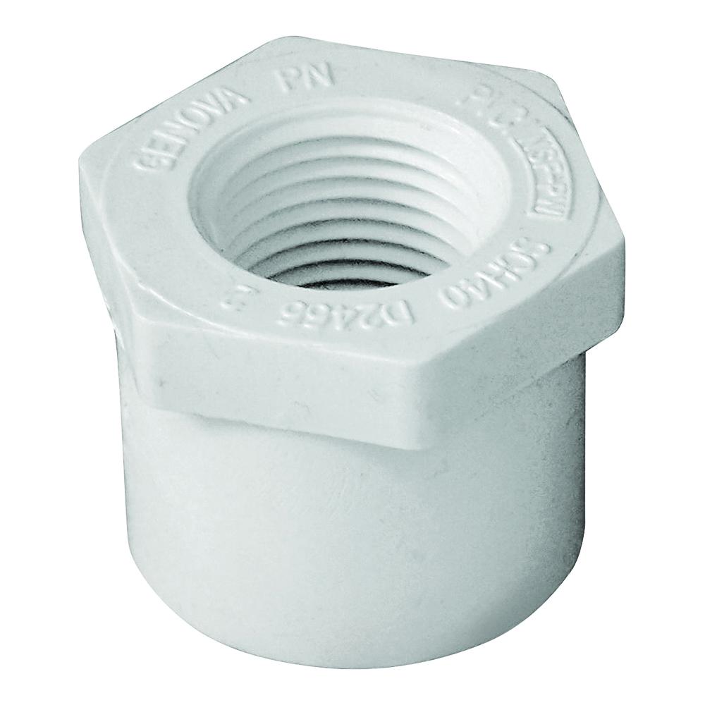 Picture of GENOVA 300 Series 34215 Pipe Reducing Bushing, 1 x 1/2 in, Spigot x FIP, White, SCH 40 Schedule