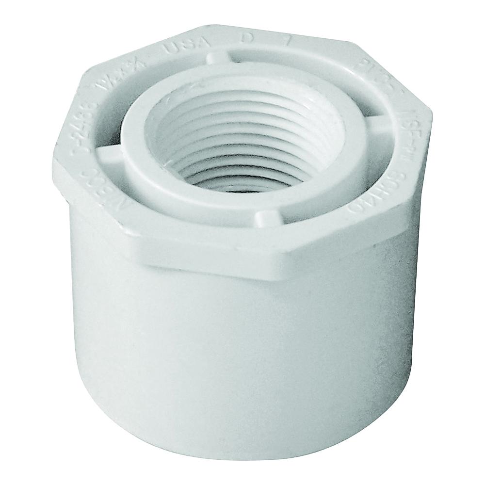 Picture of GENOVA 300 Series 34257 Pipe Reducing Bushing, 1-1/2 x 3/4 in, Spigot x FIP, White, SCH 40 Schedule