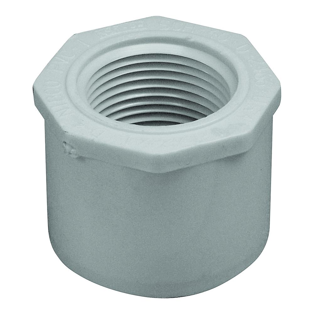 Picture of GENOVA 300 Series 34250 Pipe Reducing Bushing, 1-1/2 x 1 in, Spigot x FIP, White, SCH 40 Schedule
