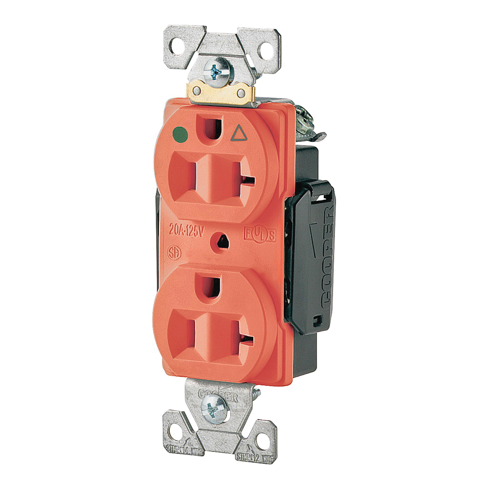 Picture of Eaton Cooper Wiring IG8300 Series IG8300RN Duplex Receptacle, 2-Pole, 20 A, 125 V, Back, Side Wiring, NEMA: 5-20R