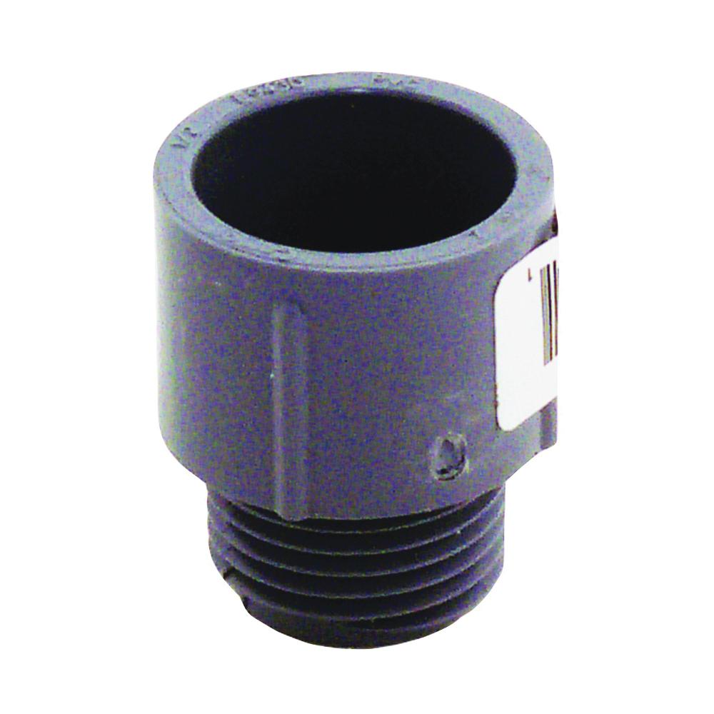 Picture of Carlon E943D-CTN Terminal Adapter, 1/2 in Trade, MPT x Socket, 1.042 in Dia, 1.31 in L, PVC, Gray