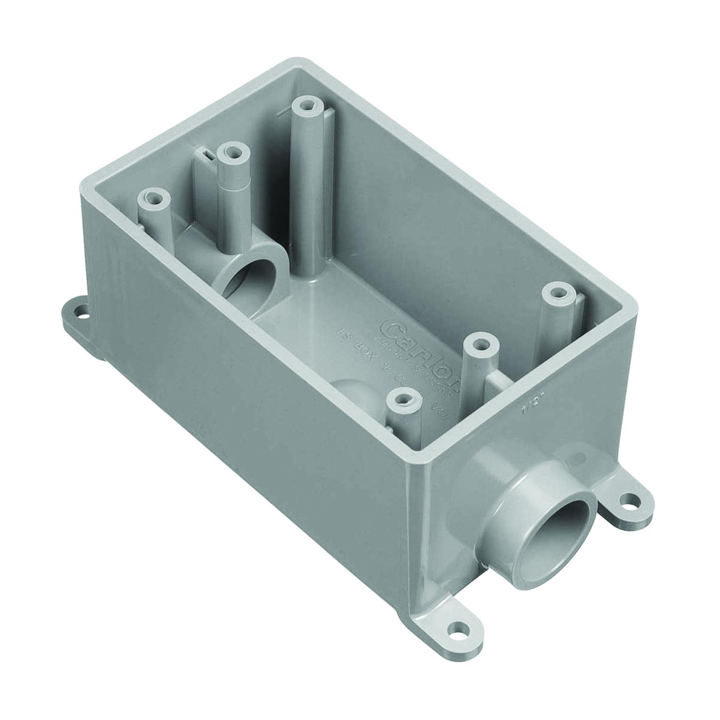 Picture of Carlon E981EFN-CTN Switch Box, 1-Gang, 2-Outlet, PVC, Gray