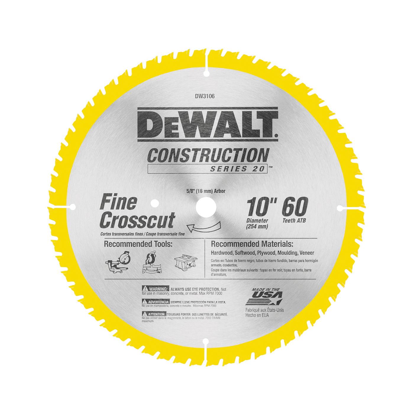 Picture of DeWALT DW3106 Saw Blade, 10 in Dia, 5/8 in Arbor, 60 -Teeth, Carbide Cutting Edge