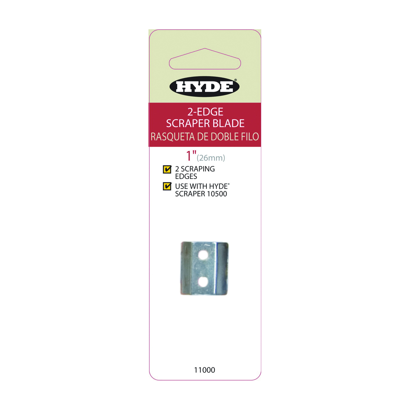 Picture of HYDE 11000 Scraper Replacement Blade, Double-Edged Blade, 1 in W Blade, HCS Blade